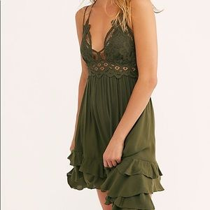 Olive green free people dress